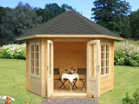 6 eck pavillon aus holz f r romantische stunden im garten. Black Bedroom Furniture Sets. Home Design Ideas