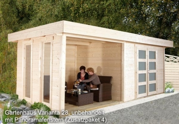 pultdach gartenhaus varianta 28 mit terrasse 5 55 x 2 50 m. Black Bedroom Furniture Sets. Home Design Ideas