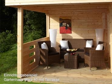Gartenhaus maja 40 b2 mit terrasse my blog - Gartenhauser mit terrasse ...
