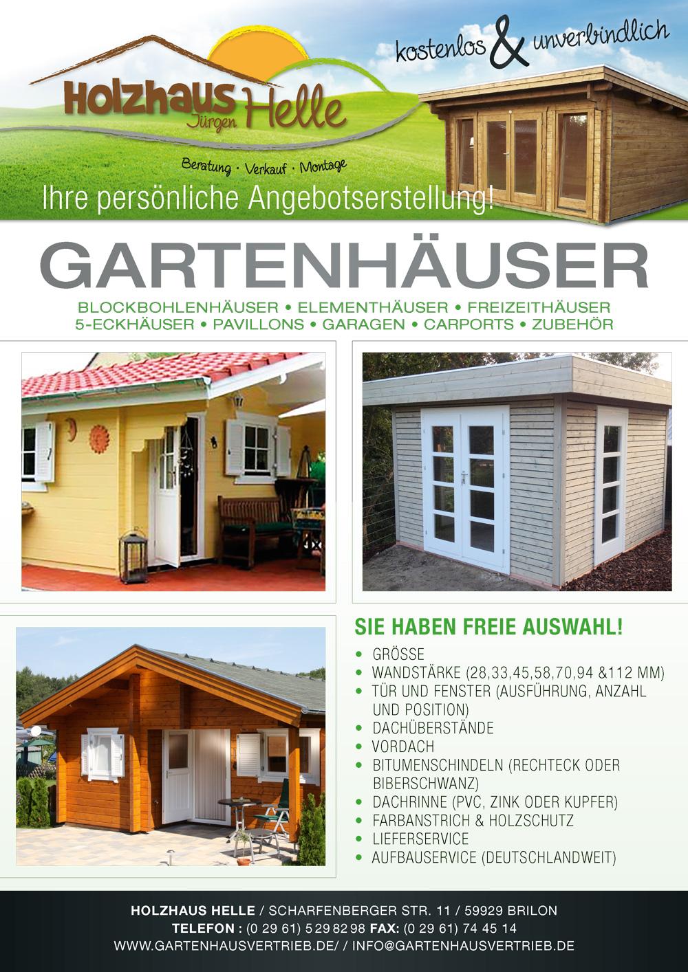 Gartenhaus pavillon garage anfertigung sonderanfertigung for Gartenhauser im angebot