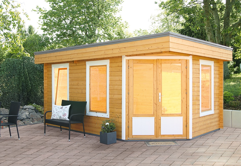 5-Eck Gartenhaus Maja 40-B, Größe 4,73 x 3,19 m