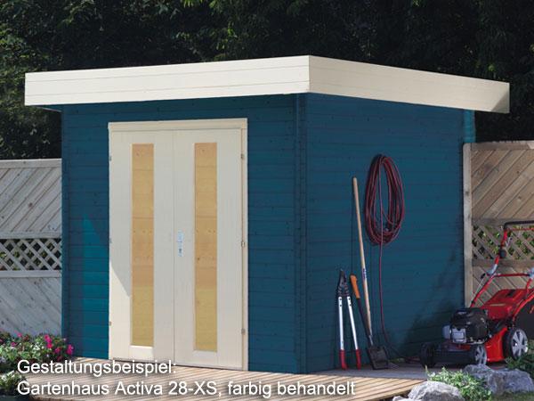 Trendig Größe 2,60 x 2,60 m, Flachdach Gerätehaus Activa 28-XS mit Holzboden ZJ24