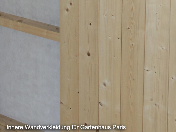 innere wandverkleidung f r palmako gartenhaus paris. Black Bedroom Furniture Sets. Home Design Ideas