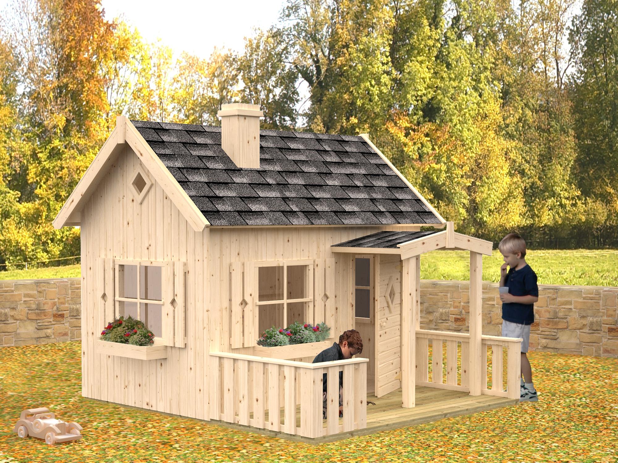 spielhaus otto aus holz gr e 2 33 x 2 58 m mit terrasse. Black Bedroom Furniture Sets. Home Design Ideas