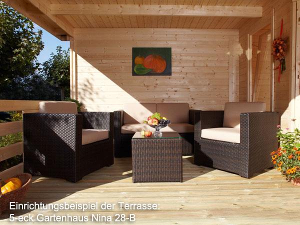 5 eck gartenhaus nina 28 b mit terrasse 6 00 x 3 00 m - Gartenhauser mit terrasse ...