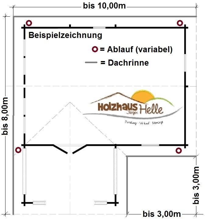 Dachrinne für Holzferienhaus Valencia A und B