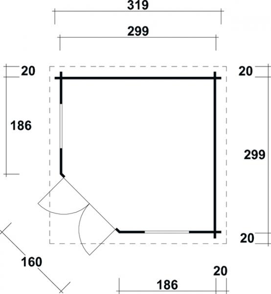 sonja 40 5 eck blockhaus gr e 3 19 x 3 19 m. Black Bedroom Furniture Sets. Home Design Ideas