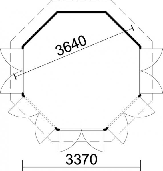 8 eck pavillon samana 360 iso 4 oder 7 doppelfenster gartenlaube mit holzboden ebay. Black Bedroom Furniture Sets. Home Design Ideas