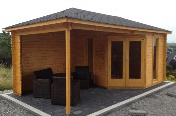 5 eck gartenhaus venezia 40 5 76 x 3 00m mit holzboden und terrasse gartenlaube ebay. Black Bedroom Furniture Sets. Home Design Ideas