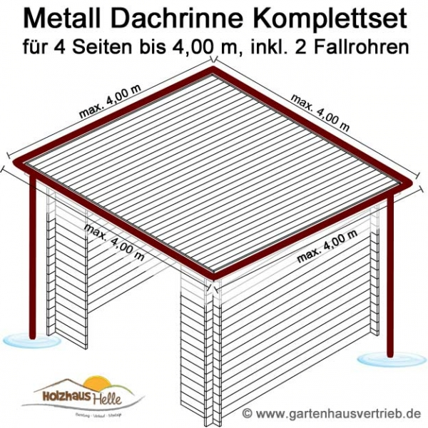 metall dachrinne 4 eck dach 4 x 4 00 m 2 x fallrohr set nr 344. Black Bedroom Furniture Sets. Home Design Ideas